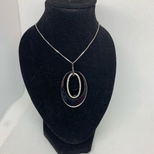 Black and silver oval necklace
